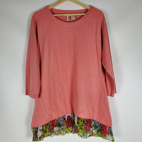 LOGO Lori Goldstein Cotton Slub Top Printed Hem M
